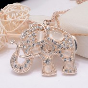 Vintage Hollow Out Cute Animal Elephant Opal Necklace