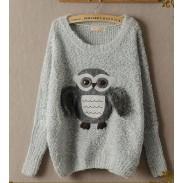 New Cute Owl Wool Bat Sweater&Cardigan