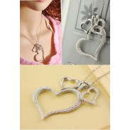 Elegant Fashion  Frosted Three Heart  Necklace