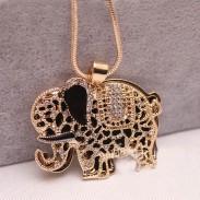 Sweet Cute Animal Rhinestone Elephant  Necklace