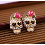Vintage Cool Rose Skull Love Earrings Studs