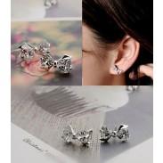 New Sweet Bowknot Cubic Zirconia Silver Earrings&Stud