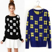 Fashion Embroidered Flowers Printed Round Neck Sweater&Cardigan