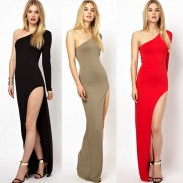Sexy Shoulder Side Slit Single Sleeve Dress