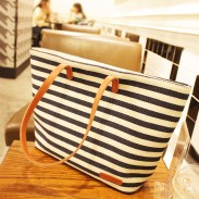 Unique Leisure Navy Strip Printed Handbag
