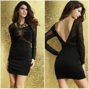 Sexy Slim Mesh Geometry Splice Dress &Party Dress