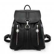 Leisure Travel Soft Leather Rucksack Zipper Women's Shopping Backpacks