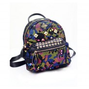 Unique Rainbow Skull Camo Mesh Rivets Backpack&Schoolbag