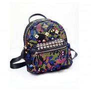 Unique Rainbow Skull Camo Mesh Rivets Backpack&Schoolbag