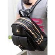 Vintage Crown Rivets PU Leather Backpack&Schoolbag