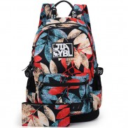 Harajuku Leaves Printing Rucksack Waterproof Large School Travel Backpack