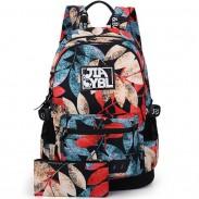 Harajuku Leaves Printing Rucksack Waterproof Large School Travel Backpack