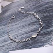 Unique Lover Present Girlfriend Gift Women Bracelet Moonstone Leaves Silver Bracelet