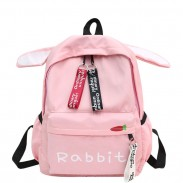 Cute Rabbit Ear Rucksack Large Student Bag Girl Canvas School Backpack