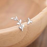 Fresh Olive Branch Earrings Asymmetry Leaves Silver Women Earrings Studs