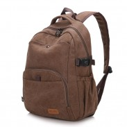 Retro Simple School Bag Camping Thick Canvas Large Backpack Man Travel Rucksack