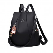 Leisure Black Star Button High School Bag Multi-function Shoulder Bag Oxford Large Backpack