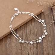 Sweet Double Stars Layer Bracelet Girlfriends Gift Jewelry Lover Present Women Bracelet