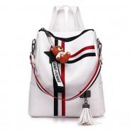 Fashion Stripe Tassel School Bag Multi-function Shoulder Bag Contrast Color Square PU Backpack