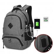 Leisure USB Interface Trunk Simple Travel Rucksack Sport Laptop Bag Large Backpack