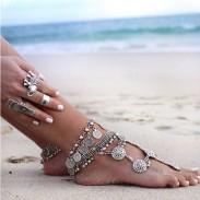Vintage Metal Tassel Coin Retro Foot Accessory Women Anklet