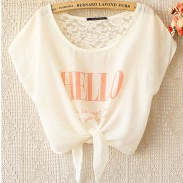 Unique Letter Printed  Lace Crochet Bow Chiffon Shirt
