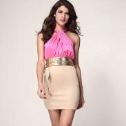 Fashion Exquisite Strapless Halter Slim Sleeveless Dress