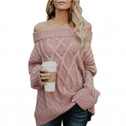 Fashion Loose Knit Long Sleeve Strapless Shoulder Cardigan Women Sweater