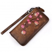 Vintage Frosted Embossed Plum Long Wallet Phone Purse Flower Clutch Bag
