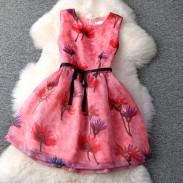 Elegant Fluorescent Color Printing Lotus Lace Slim Temperament Dress