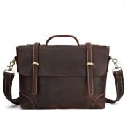 Retro Double Buckle Leather Business Bag Leather Briefcase Men's Handbags Shoulder Bag