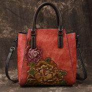 Retro Handmade 3D Peony Handbag Original Flower Leather Shoulder Bag