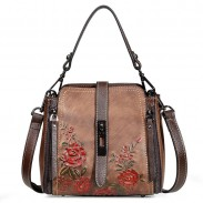 Retro Double Vertical Zippers Single Buckle Flower Shoulder Bag