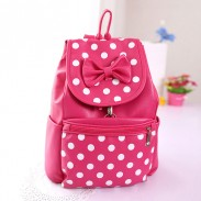 Lovely Bow Wave Point Casual Leather Backpack