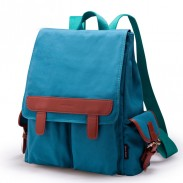 College Style Leather Contrast Color Canvas Backpack
