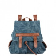 Fashion Denim With Leather Tassels Canvas Backpack