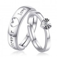 Sweet Love Heart Shaped Brushed Silver Couple Adjustable Rings
