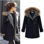 Elegant Fur Collar Side Zipper Long Wool Coat