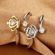 Crown Heart Zircon Platinum Opening Ring
