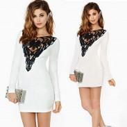 Night Club Embroider Lace Stitching White Dress