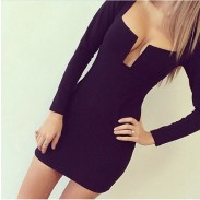 Deep V Sexy Bodycon Black Dresses