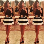 Fashion Zebra Stripe Long Sleeve Dresses