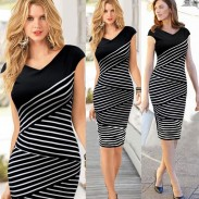 Multi Layer Striped Pencil Bodycon Dresses