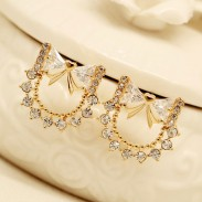 Crystal Zircon Bow Ear Studs Earrings
