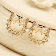 Crystal Zircon Bow Ear Studs Earrings