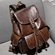 Vintage Buckles Leather Student Bag Backpacks