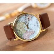 Retro World Map Leopard Brown Watch