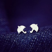 Matte Color Cute Childlike Umbrella Silver Pins Earrings