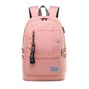 Simple Pure Color Water Resistant Laptop Bag High School Student Backpack USB Charging Port Junior School Bag Backpack