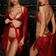 Sexy Babydoll For Women Hollow Lace Bra Panty 2 Piece Set With Lace Robe Nightgown Bodysuit Strappy Lingerie